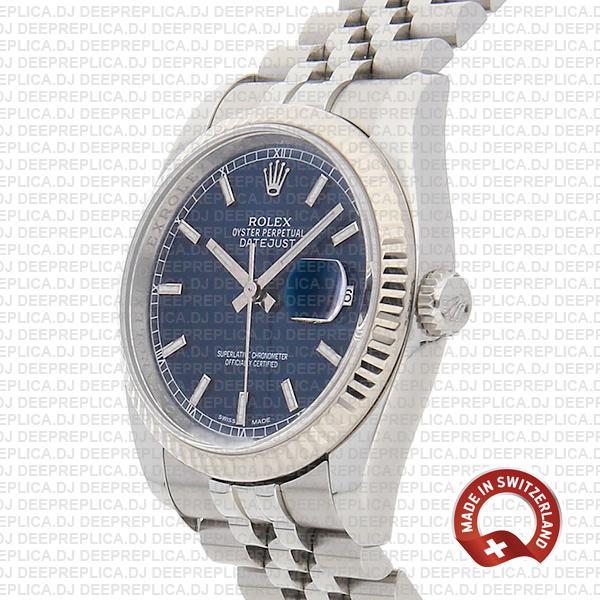Rolex Datejust 36, 18k White Gold Blue Dial with 904L Steel Fluted Bezel & Jubilee Bracelet Rolex Replica Watch