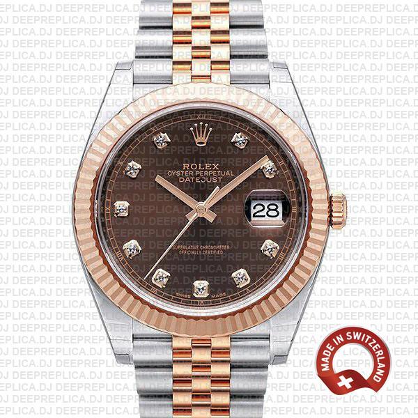 Rolex Datejust Chocolate Diamond Dial Swiss Replica Watch