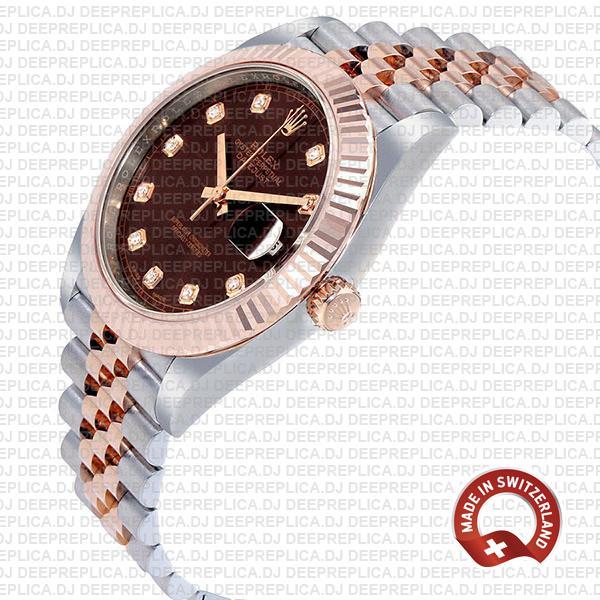 Rolex Replica Datejust 41 Jubilee Bracelet Two-Tone 18k Rose Gold 904L Steel Fluted Bezel Chocolate Dial Diamond