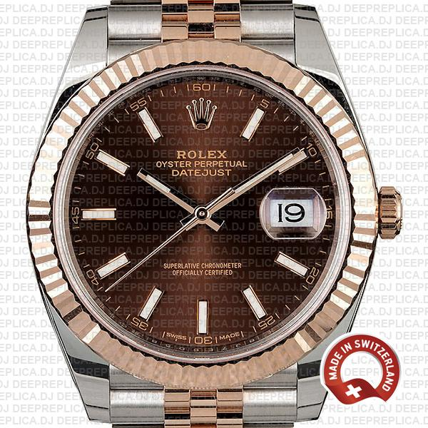 Rolex Datejust 41 Jubilee 2 Tone 18k Rose Gold Fluted Bezel Chocolate Dial Stick Markers 126331 Swiss Replica
