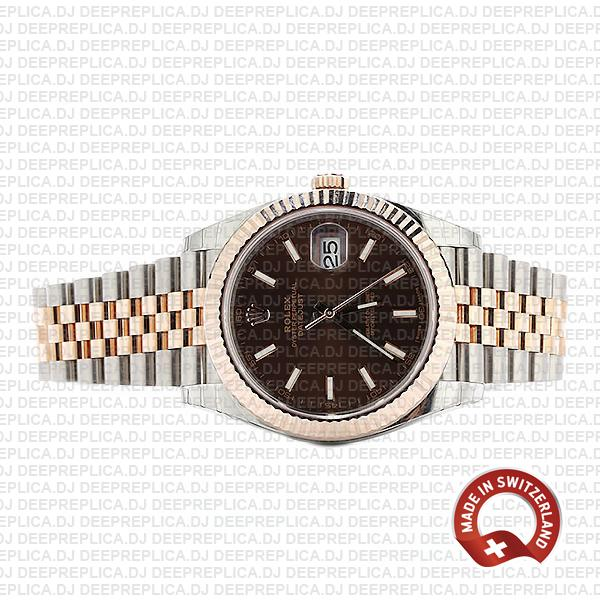 Rolex Datejust 41 Two-Tone 18k Rose Gold, Fluted Bezel Chocolate Dial 41mm with Jubilee Bracelet Swiss Replica Watch