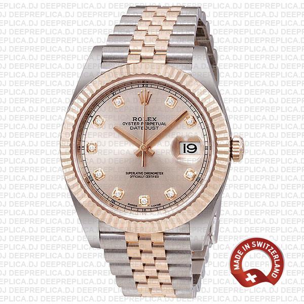 High Quality Rolex Datejust Replica Pink Dial Diamonds Watch