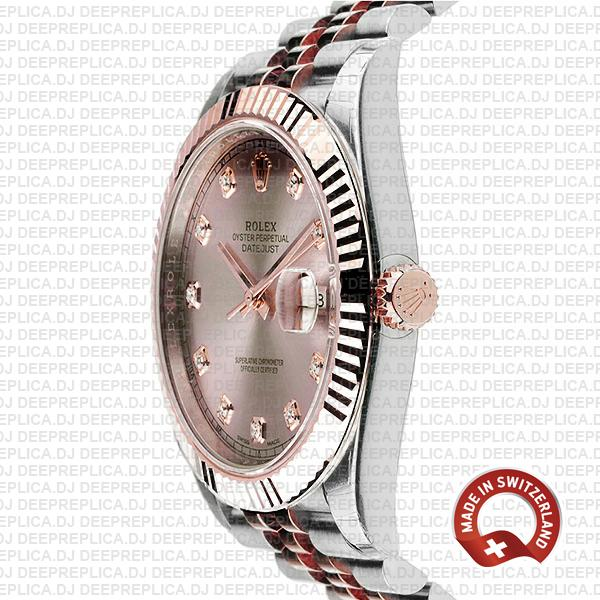 Rolex Datejust 18k Rose Gold Jubilee Bracelet Two-Tone, Fluted Bezel Pink Diamond Dial Replica with Cloned Rolex 3235 Movement