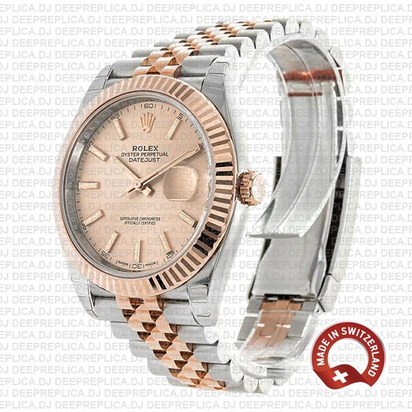 Rolex Datejust 41 Jubilee 2 Tone 18k Rose Gold Fluted Bezel Pink Sundust Dial Stick Markers 126331 Swiss Replica