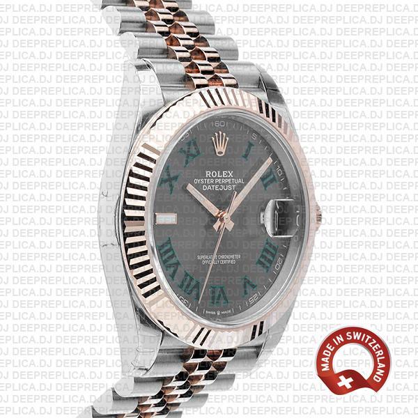 Rolex Datejust 41 Two-Tone 18k Rose Gold, Fluted Bezel Slate Grey Roman Dial with Jubilee Bracelet Replica