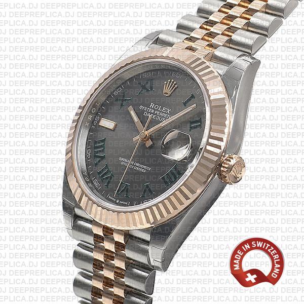 Rolex Datejust 41 Two-Tone 18k Rose Gold, Fluted Bezel Slate Grey Roman Dial with Jubilee Bracelet Replica Watch