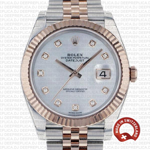 Rolex Datejust Stainless Steel Two-Tone Jubilee Bracelet 18k Rose Gold, Fluted Bezel White Mother of Pearl Diamond Dial 41mm Replica Watch