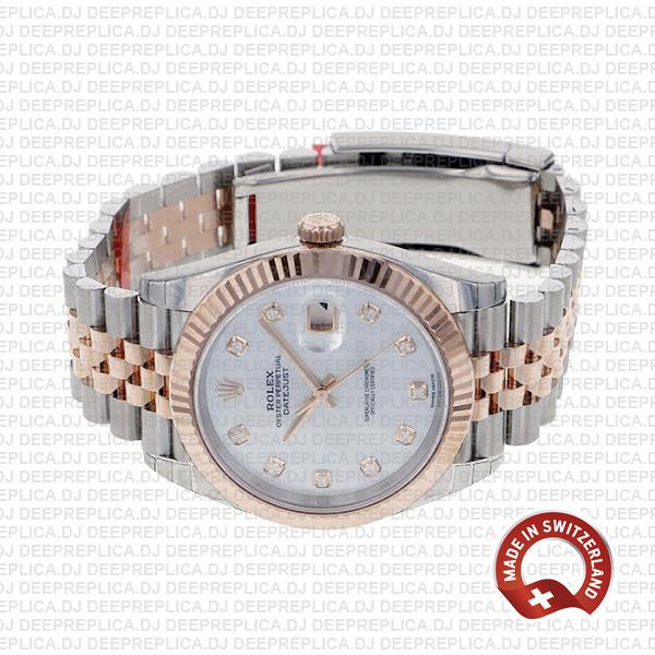Rolex Datejust Stainless Steel Two-Tone Jubilee Bracelet 18k Rose Gold, Fluted Bezel White Mother of Pearl Diamond Dial 41mm