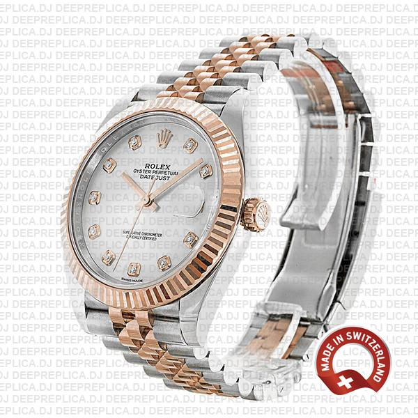Rolex Datejust Stainless Steel Two-Tone Jubilee Bracelet 18k Rose Gold, Fluted Bezel White Mother of Pearl Diamond Dial
