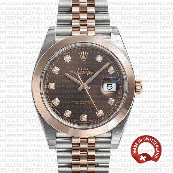 Rolex Datejust 41 18k Rose Gold Two-Tone, 904L Steel Smooth Bezel Chocolate Diamond Dial Jubilee Bracelet Replica Watch
