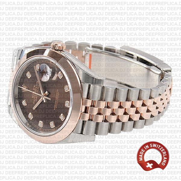 Rolex Datejust 41 18k Rose Gold Two-Tone, 904L Steel Smooth Bezel Chocolate Diamond Dial Jubilee Bracelet Replica