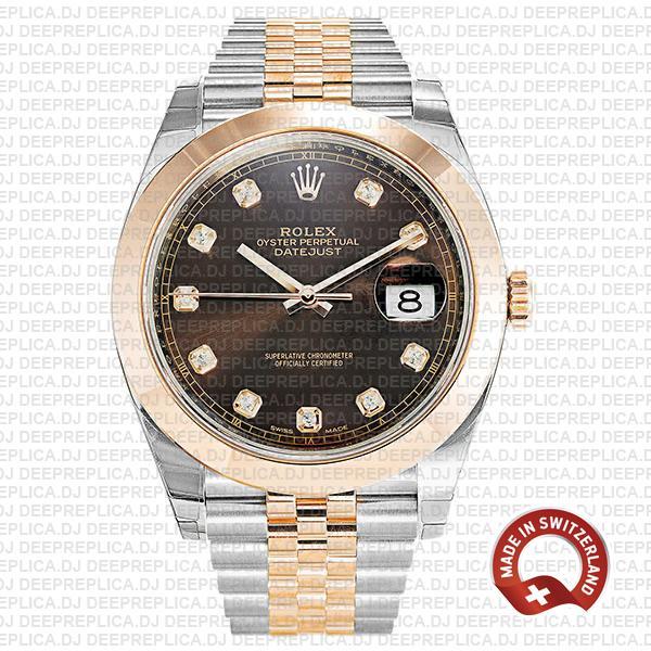 Rolex Datejust 41 18k Rose Gold Two-Tone, 904L Steel Smooth Bezel Chocolate Diamond Dial Jubilee Bracelet