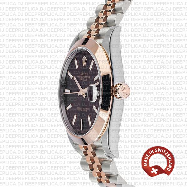 Rolex Oyster Perpetual Datejust 18k Rose Gold Two-Tone, Smooth Bezel Chocolate Dial 41mm with Jubilee Bracelet