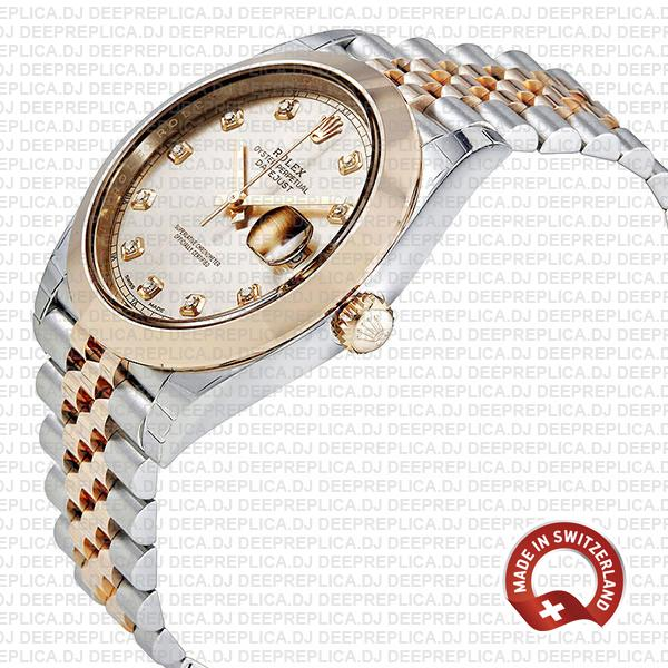Rolex Datejust 18k Rose Gold Two-Tone, 904L Stainless Steel Smooth Bezel Pink Dial Diamond Markers 41mm