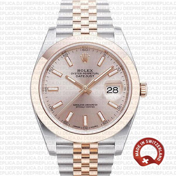 Rolex Datejust 41 18k Rose Gold Two-Tone, 904L Steel Smooth Bezel Pink Dial Replica Watch