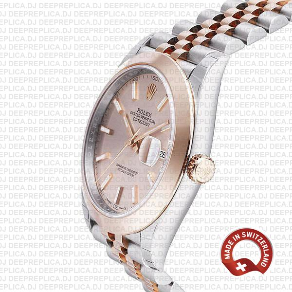 Rolex Datejust 41 Jubilee 2 Tone 18k Rose Gold Smooth Bezel Pink Dial Stick Markers 126301 Swiss Replica