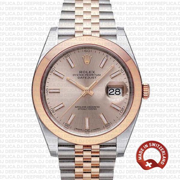 Rolex Datejust 41 Pink Dial Jubilee Bracelet Watch | Deepreplica