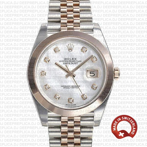 Rolex Datejust Two-Tone 18k Rose Gold, Smooth Bezel White Mother of Pearl Diamond Dial Stainless Steel
