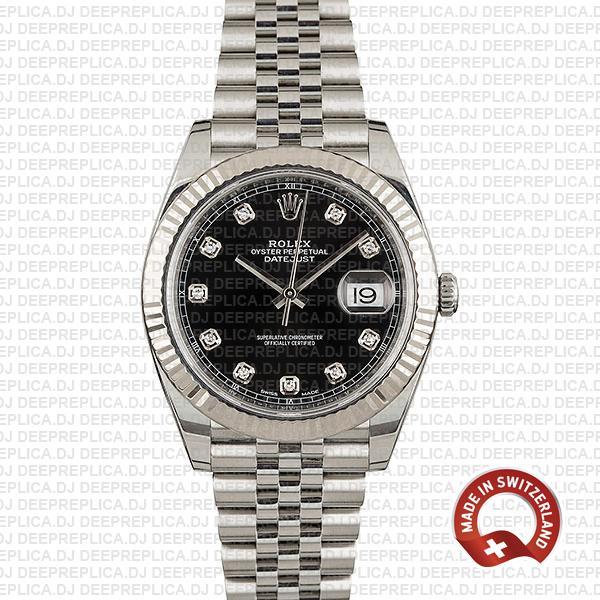 Rolex Datejust 41mm Black Diamond Dial | Fake Rolex Watch
