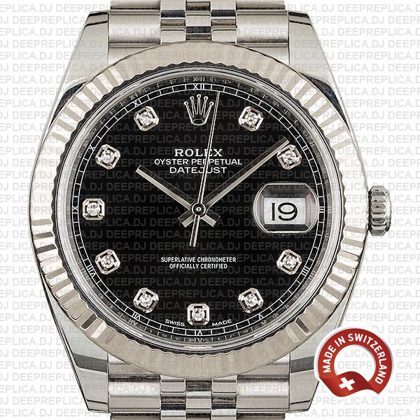 Rolex Datejust 904L Steel Black Diamond Dial 18k White Gold Fluted Bezel 41mm Jubilee Bracelet