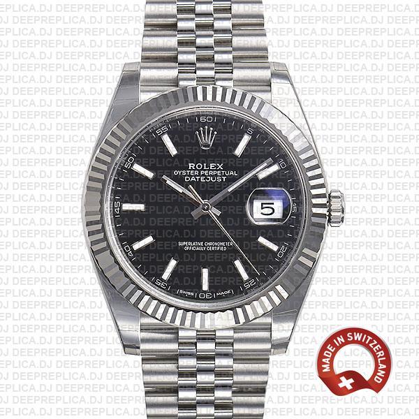 Rolex Datejust Jubilee Bracelet 904L Steel Black Sticks Dial 18k White Gold Fluted Bezel 41mm Replica Watch