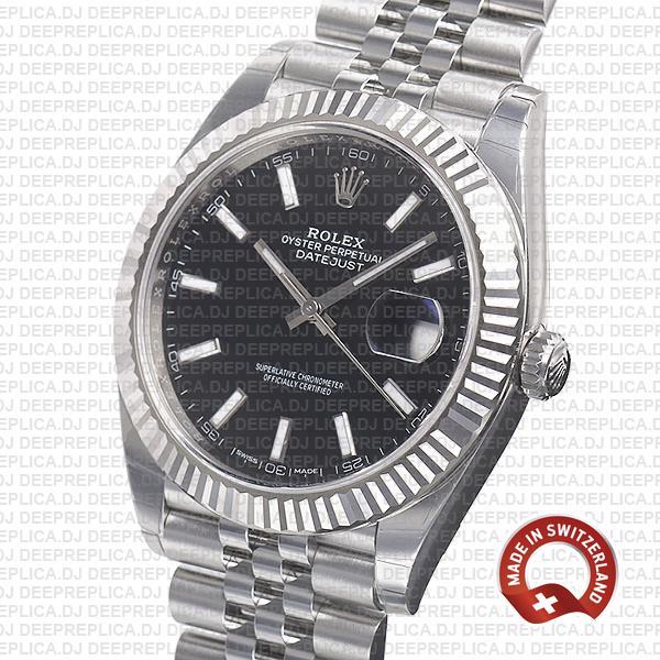 Rolex Datejust Jubilee Bracelet 904L Steel Black Sticks Dial 18k White Gold Fluted Bezel 41mm Replica