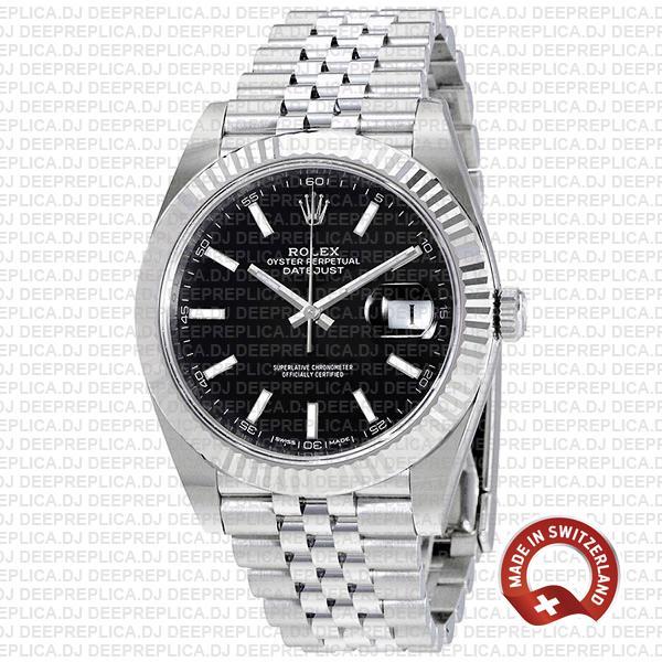 Rolex Datejust 41 Black Dial Jubilee Top Rolex Replica Watch