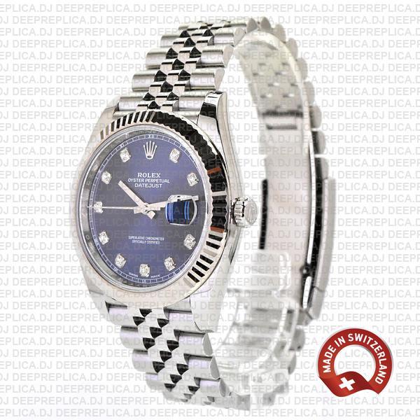 Rolex Datejust Blue Diamond Dial Fluted Bezel Replica Watch