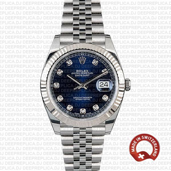 Rolex Datejust 41 904L Steel 18k White Gold, Blue Diamond Dial Fluted Bezel 41mm Replica Watch