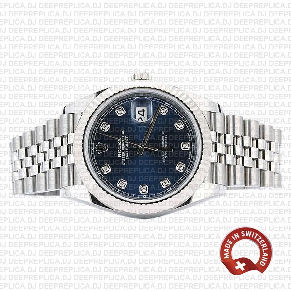 Rolex Datejust 41 904L Steel 18k White Gold, Blue Diamond Dial Fluted Bezel 41mm Replica