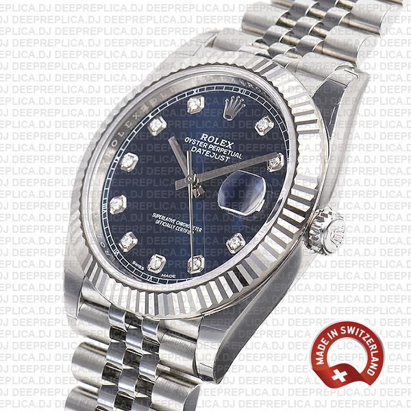 Rolex Datejust 41 904L Steel 18k White Gold, Blue Diamond Dial Fluted Bezel 41mm