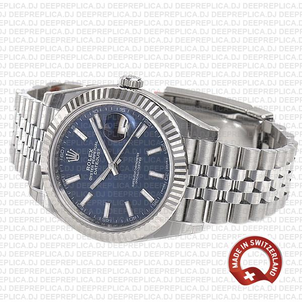 Rolex Datejust 41 Jubilee Bracelet 18k White Gold 904L Stainless Steel Blue Sticks Dial Fluted Bezel