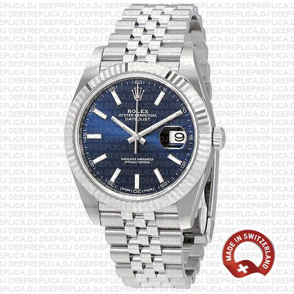 Rolex Datejust 41 Jubilee 2 Tone 18k White Gold Fluted Bezel Blue Dial Stick Markers 126334 Swiss Replica