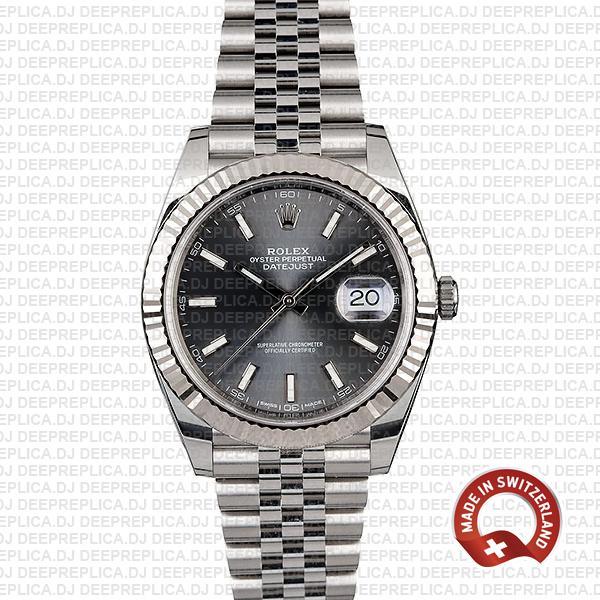 Rolex Datejust 41 Grey Dial Steel Jubilee Swiss Replica Watch