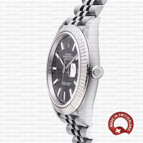 Rolex Datejust 41 18k White Gold Jubilee Bracelet 904L Stainless Steel Dark Rhodium Grey Sticks Dial Fluted Bezel Rolex Made Replica Watch.