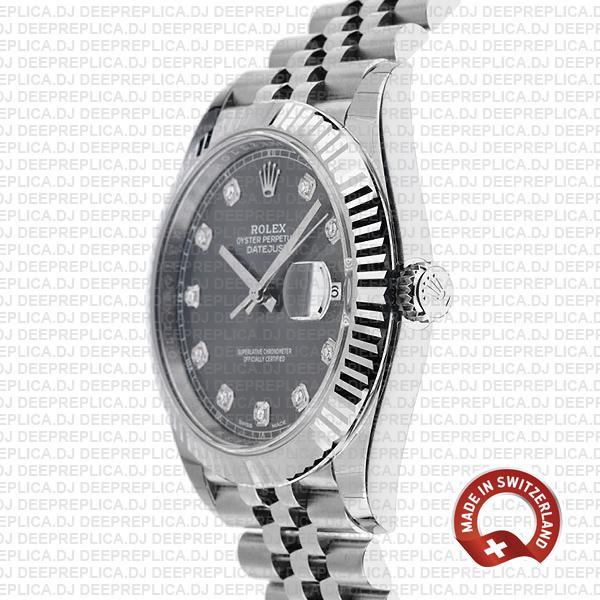 Rolex Datejust 41 Jubilee 2 Tone 18k White Gold Fluted Bezel Rhodium Grey Dial Diamond Markers 126334 Swiss Replica