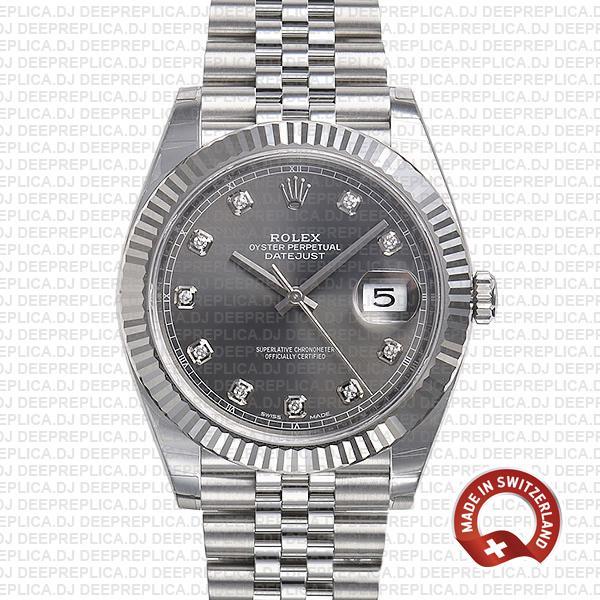 Rolex Datejust Grey Diamond Dial Jubilee   Best Replica Watch