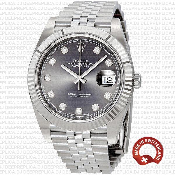 Rolex Datejust 41 Jubilee Bracelet 18k White Gold 904L Stainless Steel Dark Rhodium Grey Diamond Dial