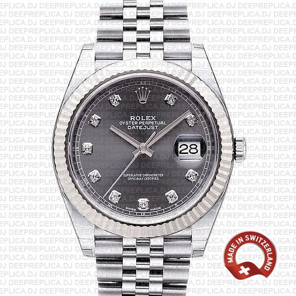 Rolex Datejust Grey Diamond Dial Jubilee | Best Replica Watch