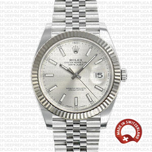 Rolex Datejust 41 Silver Dial Jubilee Swiss Made Replica Watch