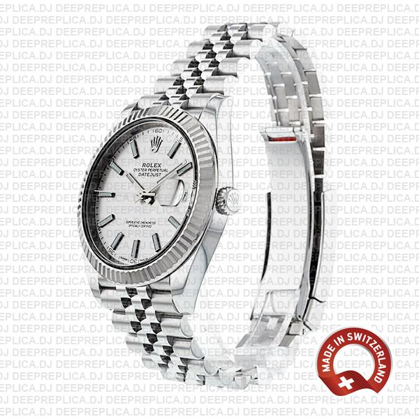 Rolex Datejust 18k White Gold 904L Stainless Steel Silver Dial Stick Markers Fluted Bezel