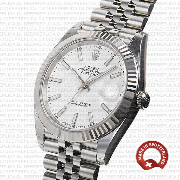 Rolex Datejust 41 Jubilee 2 Tone 18k White Gold Fluted Bezel White Dial Stick Markers 126334 Swiss Replica