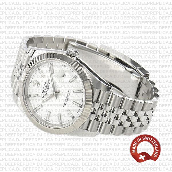 Rolex Datejust 41 Jubilee 904L Steel White Dial Stick Markers 18k White Gold Fluted Bezel Waterproof Replica