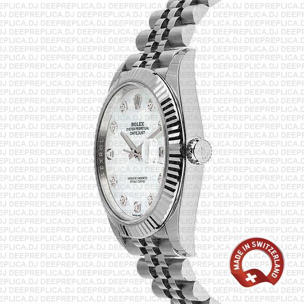 Rolex Datejust 41 Jubilee 2 Tone 18k White Gold Fluted Bezel White Mop Dial Diamond Markers 126334 Swiss Replica