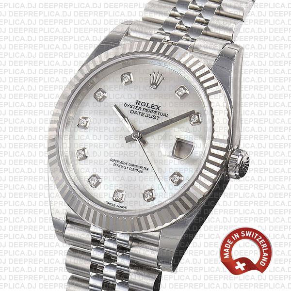 Rolex Datejust 41 18k White Gold Jubilee Bracelet 904L Steel White Mother of Pearl Diamond Dial Fluted Bezel
