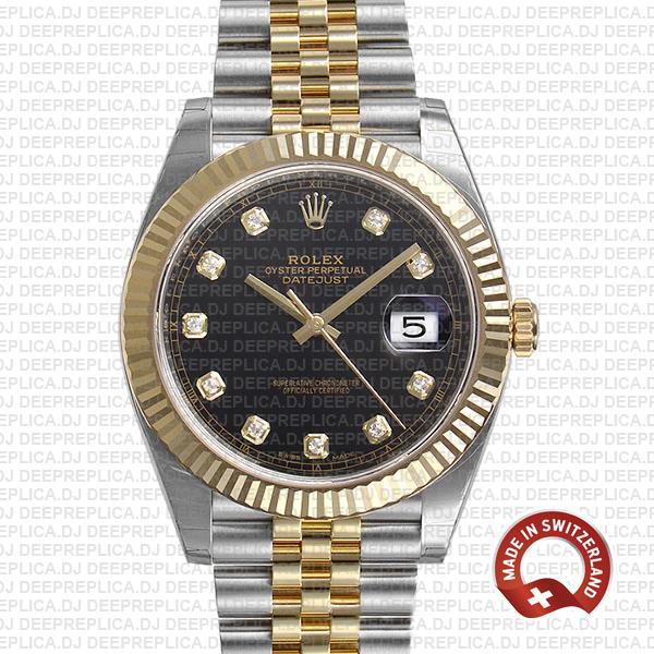 Rolex Datejust 41 Black Dial Diamonds Swiss Replica Watch