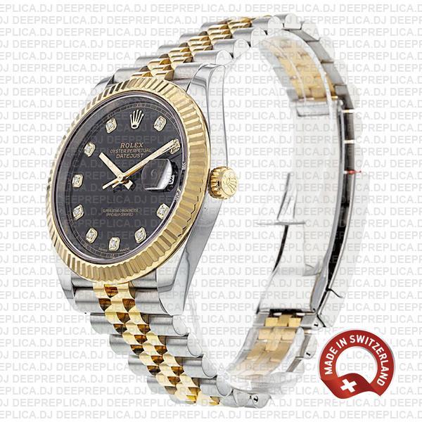 Rolex Datejust 41 Jubilee 2 Tone 18k Yellow Gold Flutted Bezel Black Dial Diamond Markers 126333 Swiss Replica