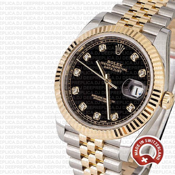 Rolex Datejust 18k Yellow Gold Two-Tone, 904L Steel Fluted Bezel Black Diamond Dial