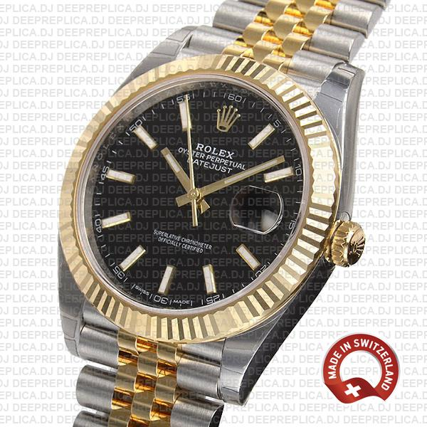 Rolex Datejust Two-Tone 18k Yellow Gold, 904L Stainless Steel Fluted Bezel with Black Dial Jubilee Bracelet