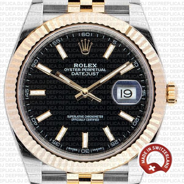 Best Rolex Datejust Replica Black Dial Jubilee Bracelet Watch